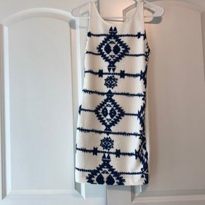 White and blue cocktail dress size 6